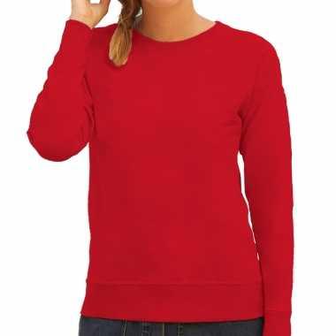 Rode trui / sweatshirt trui raglan mouwen ronde hals dames
