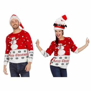 Rood/witte kerst trui sneeuwpop volwassenen