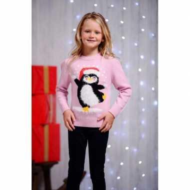Roze kersttrui kinderen dansende pinguin