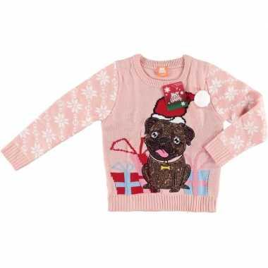 Roze kersttrui mopshondje kinderen