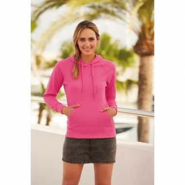 Roze trui/hoodie capuchon dames