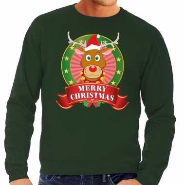 Rudolf kersttrui groen merry christmas heren