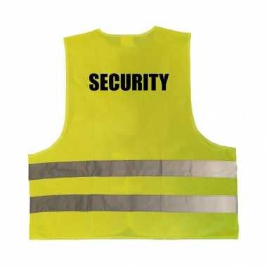 Security / beveiliger veiligheidstruije / hesje geel reflecterende strepen volwassenen