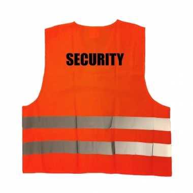 Security / beveiliger veiligheidstruije / hesje oranje reflecterende strepen volwassenen