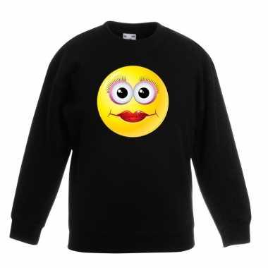 Smiley trui diva zwart kinderen