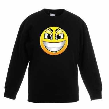 Smiley trui ondeugend zwart kinderen