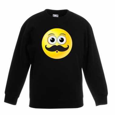 Smiley trui snor zwart kinderen