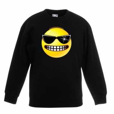 Smiley trui stoer zwart kinderen