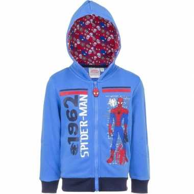 Spiderman trui met rits blauw