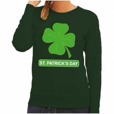 St. patricksday klavertje trui groen dames