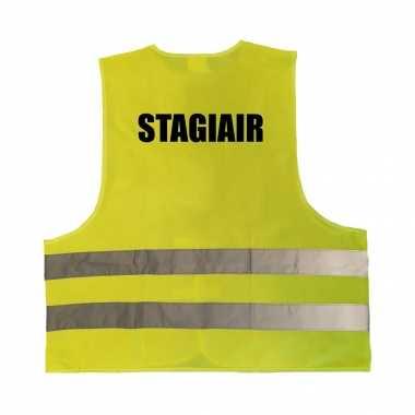 Stagiair truije / hesje geel reflecterende strepen volwassenen