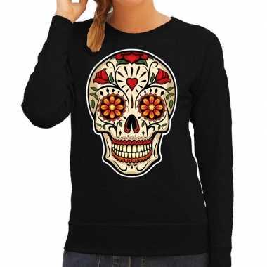 Sugar skull fashion trui rock / punker zwart dames