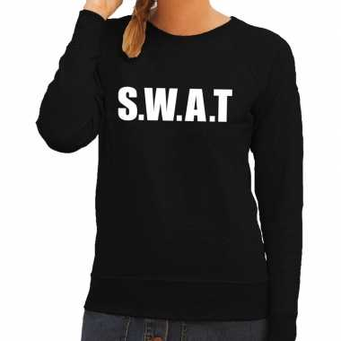 Swat tekst trui / trui zwart dames