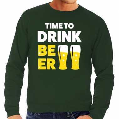 Time to drink beer tekst trui groen heren