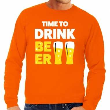 Time to drink beer tekst trui oranje heren