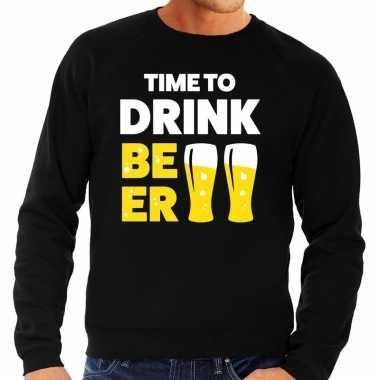 Time to drink beer tekst trui zwart heren