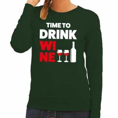 Time to drink wine tekst trui groen dames