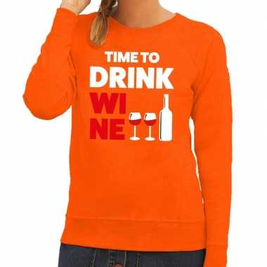 Time to drink wine tekst trui oranje dames
