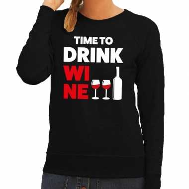 Time to drink wine tekst trui zwart dames