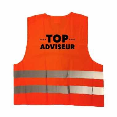 Top adviseur personeel truije / hesje oranje reflecterende strepen volwassenen