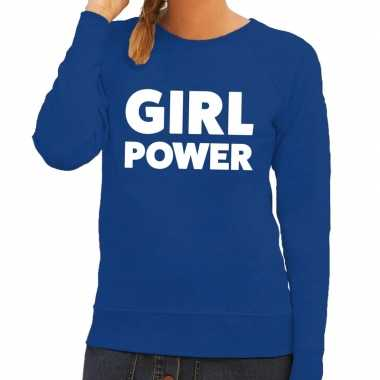 Toppers girl power tekst trui blauw dames