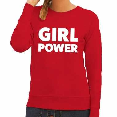 Toppers girl power tekst trui rood dames