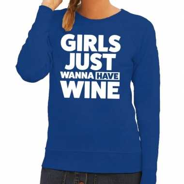 Toppers girls just wanna have wine tekst trui blauw dames