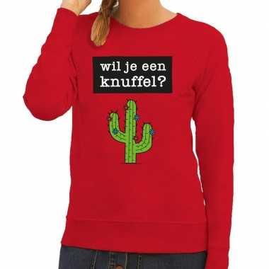 Toppers wil je een knuffel tekst trui rood dames