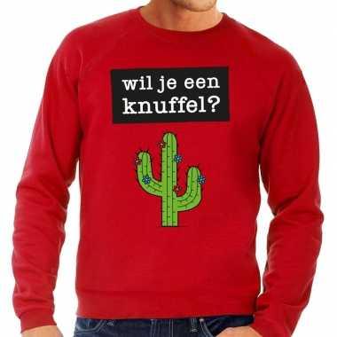 Toppers wil je een knuffel tekst trui rood