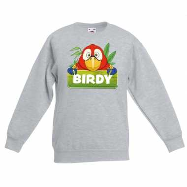 Trui grijs kinderen birdy papegaai