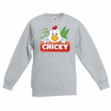 Trui grijs kinderen chicky kip