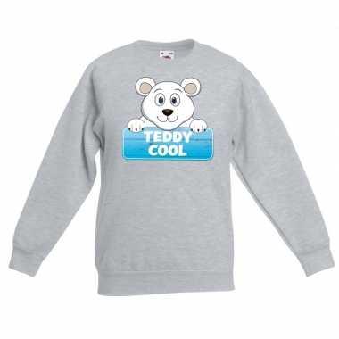 Trui grijs kinderen teddy cool ijsbeer