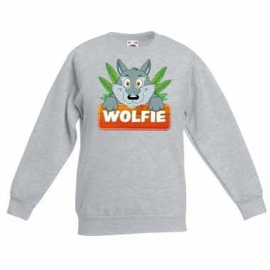 Trui grijs kinderen wolfie wolf