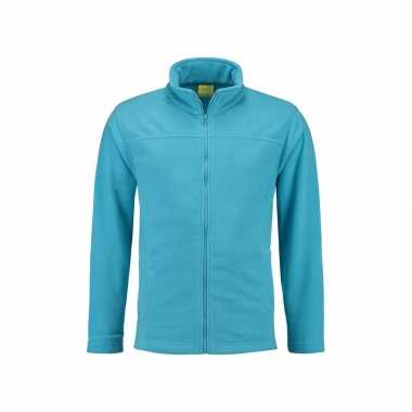 Turquoise fleece trui rits volwassenen