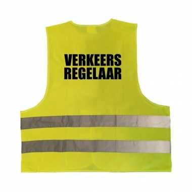 Verkeersregelaar truije / hesje geel reflecterende strepen volwassenen