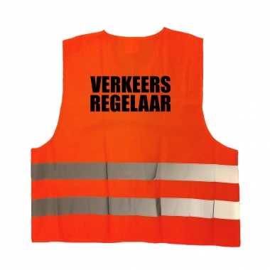 Verkeersregelaar truije / hesje oranje reflecterende strepen volwassenen