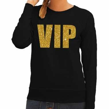 Vip tekst trui / trui zwart gouden glitter letters dames