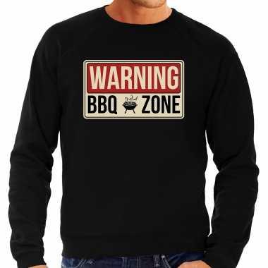 Warning bbq zone bbq / barbecue cadeau trui / trui zwart heren