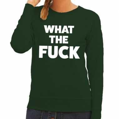 What the fuck tekst trui groen dames