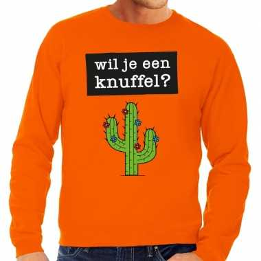 Wil je een knuffel tekst trui oranje heren