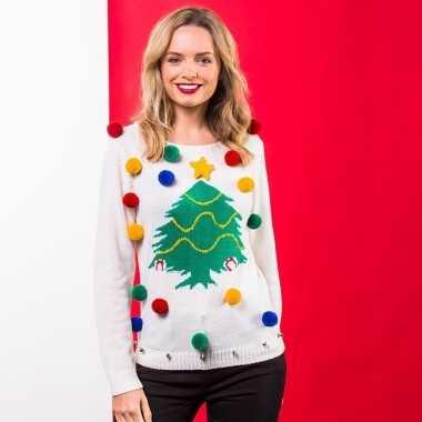 Witte kerst trui d kerstboom dames