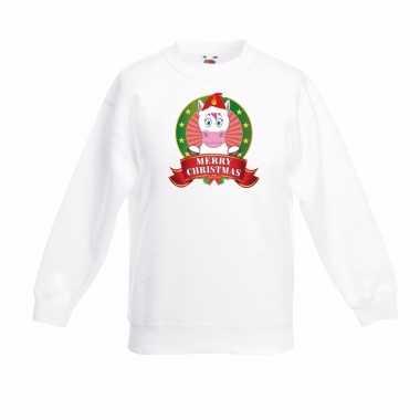 Witte kerst trui kinderen een eenhoorn