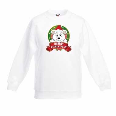 Witte kerst trui kinderen een ijsbeer