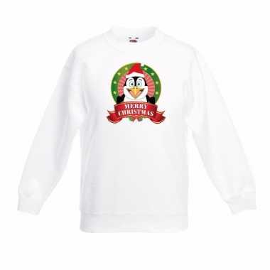 Witte kerst trui kinderen een pinguin