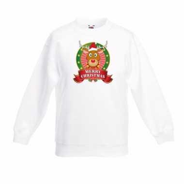 Witte kerst trui kinderen rendier rudolf