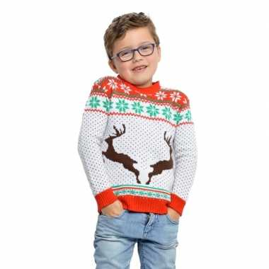 Witte kerst trui rendieren kinderen