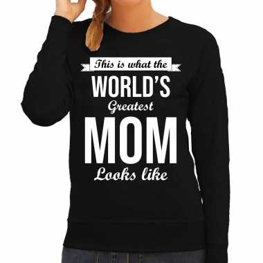 Worlds greatest mom cadeau trui zwart dames