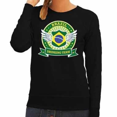 Zwart brazil drinking team trui dames