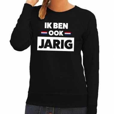 Zwart ik ben ook jarig trui hollandse vlag dames