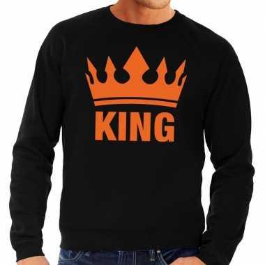 Zwart king kroon trui heren